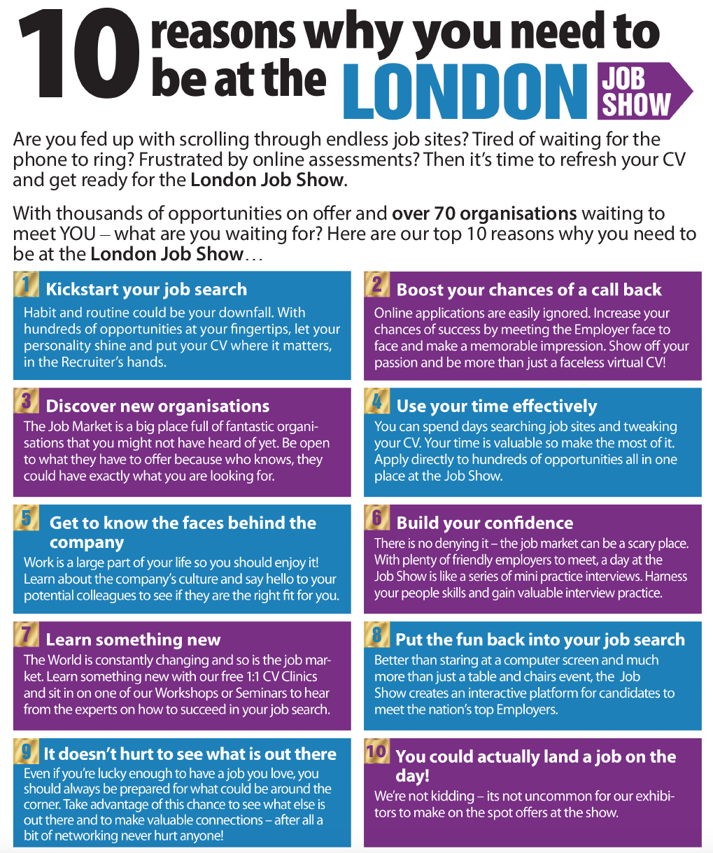 10 Reasons To Attend The London Job Show